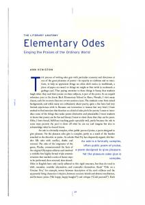 THE process of writing odes gets with particular economy and directness at