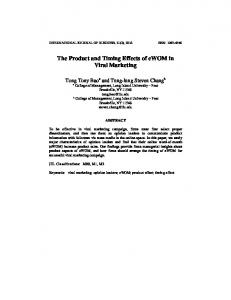 The Product and Timing Effects of ewom in Viral Marketing