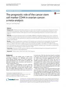 The prognostic role of the cancer stem cell marker CD44 in ovarian cancer: a meta analysis