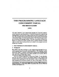 THE PROGRAMMING LANGUAGE CONCURRENT PASCAL