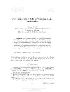 The Properties of Sets of Temporal Logic Subformulas 1