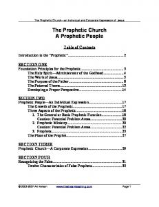 The Prophetic Church A Prophetic People