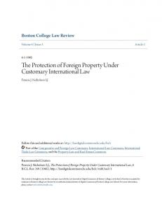 The Protection of Foreign Property Under Customary International Law