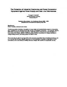 The Protection of Industrial Electronics and Power Conversion Equipment Against Power Supply and Data Line Disturbances