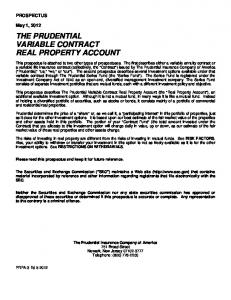 THE PRUDENTIAL VARIABLE CONTRACT REAL PROPERTY ACCOUNT