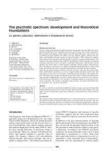 The psychotic spectrum: development and theoretical foundations