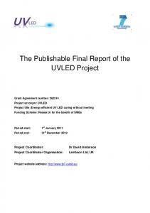 The Publishable Final Report of the UVLED Project