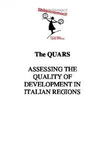 The QUARS ASSESSING THE QUALITY OF DEVELOPMENT IN ITALIAN REGIONS