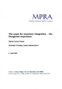 The quest for monetary integration the Hungarian experience