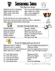 The Raccoon Song. Twinkle Twinkle Little Star. If you re happy and you know it
