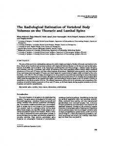 The Radiological Estimation of Vertebral Body Volumes on the Thoracic and Lumbal Spine