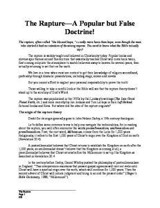 The Rapture A Popular but False Doctrine!