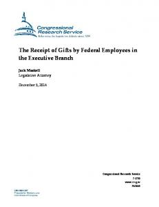 The Receipt of Gifts by Federal Employees in the Executive Branch
