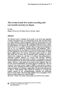 The recent trend of e-waste recycling and rare metal recovery in Japan