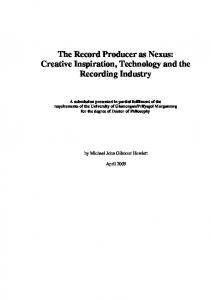 The Record Producer as Nexus: Creative Inspiration, Technology and the Recording Industry