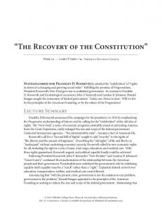 The Recovery of the Constitution