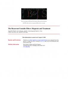 The Recurrent Unstable Elbow: Diagnosis and Treatment