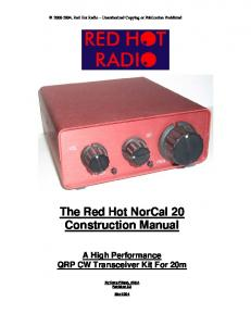 The Red Hot NorCal 20 Construction Manual