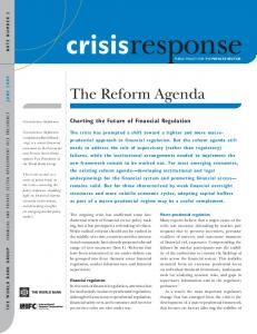 The Reform Agenda. Charting the Future of Financial Regulation