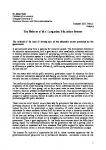 The Reform of the Hungarian Education System