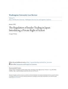 The Regulation of Insider Trading in Japan: Introducing a Private Right of Action