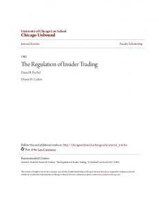 The Regulation of Insider Trading