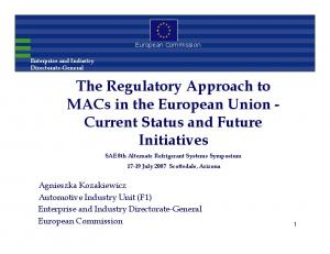 The Regulatory Approach to MACs in the European Union - Current Status and Future Initiatives