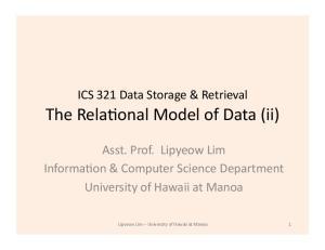 The Rela6onal Model of Data (ii)