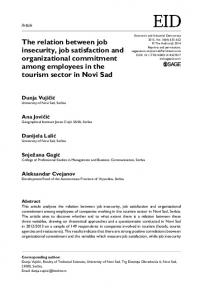 The relation between job insecurity, job satisfaction and organizational commitment among employees in the tourism sector in Novi Sad