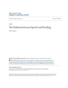The Relation between Speech and Reading