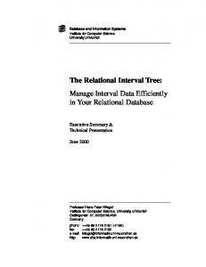The Relational Interval Tree: Manage Interval Data Efficiently in Your Relational Database