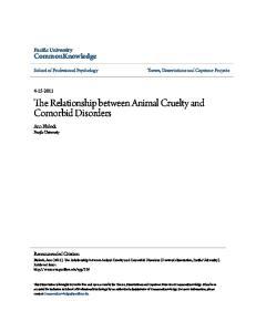 The Relationship between Animal Cruelty and Comorbid Disorders