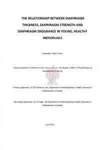 THE RELATIONSHIP BETWEEN DIAPHRAGM THICKNESS, DIAPHRAGM STRENGTH AND DIAPHRAGM ENDURANCE IN YOUNG, HEALTHY INDIVIDUALS