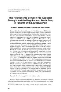 The Relationship Between Hip-Abductor Strength and the Magnitude of Pelvic Drop in Patients With Low Back Pain