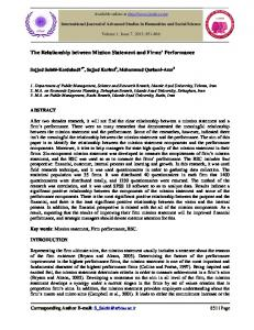 The Relationship between Mission Statement and Firms Performance
