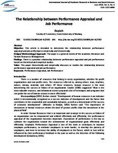The Relationship between Performance Appraisal and Job Performance