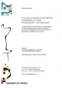 THE RELATIONSHIP BETWEEN PERSONALITY AND PERSUASIVE TECHNOLOGY