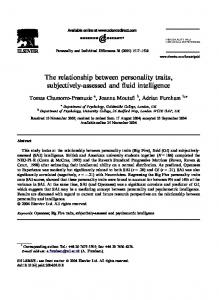 The relationship between personality traits, subjectively-assessed and fluid intelligence