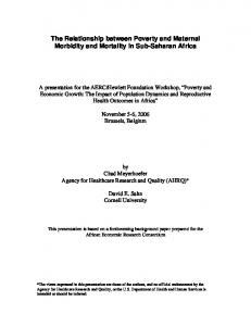 The Relationship between Poverty and Maternal Morbidity and Mortality in Sub-Saharan Africa