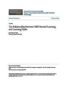 The Relationship Between Self-Directed Learning and Learning Styles