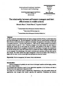 The relationship between self-esteem managers and their effectiveness in middle schools