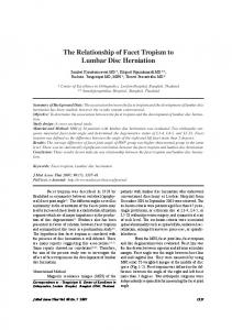 The Relationship of Facet Tropism to Lumbar Disc Herniation