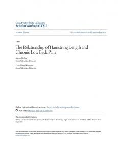 The Relationship of Hamstring Length and Chronic Low Back Pain
