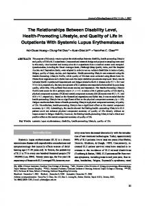 The Relationships Between Disability Level, Health-Promoting Lifestyle, and Quality of Life in Outpatients With Systemic Lupus Erythematosus