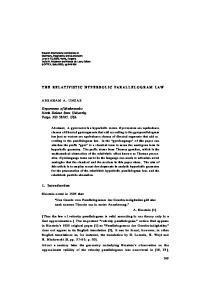 THE RELATIVISTIC HYPERBOLIC PARALLELOGRAM LAW