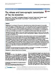 The release and trans-synaptic transmission of Tau via exosomes