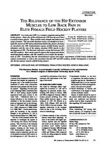 THE RELEVANCE OF THE HIP EXTENSOR MUSCLES TO LOW BACK PAIN IN ELITE FEMALE FIELD HOCKEY PLAYERS