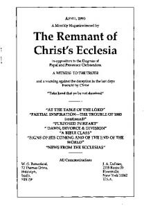 The Remnant of Christ's Ecclesia