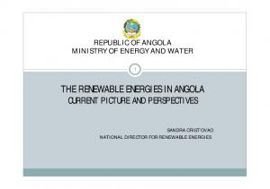 THE RENEWABLE ENERGIES IN ANGOLA CURRENT PICTURE AND PERSPECTIVES