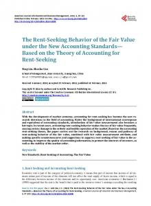 The Rent-Seeking Behavior of the Fair Value under the New Accounting Standards Based on the Theory of Accounting for Rent-Seeking